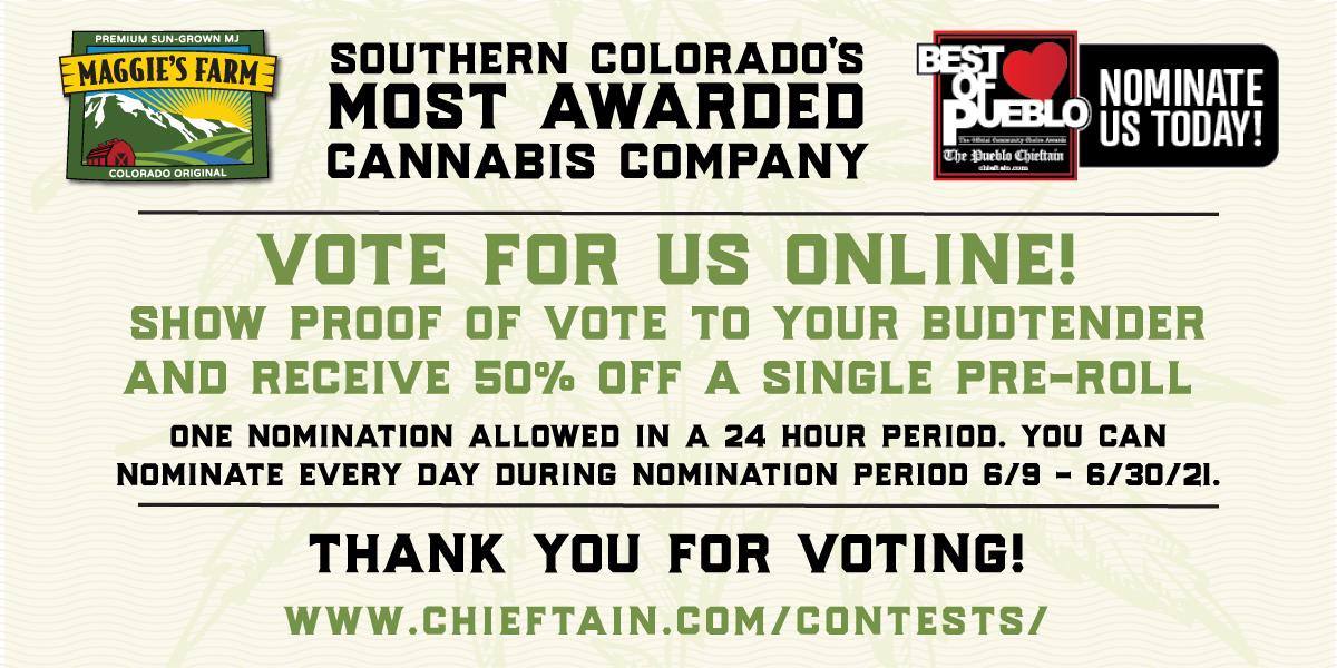 Vote for Maggie's Farm in the 2021 Pueblo Chieftain Best of Pueblo